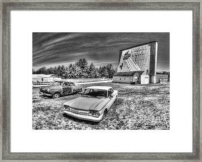 Classic Cars At The Drive-in Framed Print