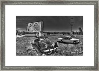 Classic Cars In Front Of Drive-in Framed Print