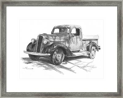 Classic Chevy Truck Pencil Portrait Framed Print by Mike Theuer