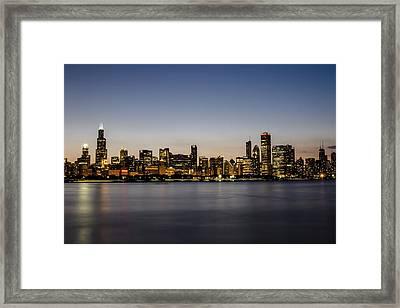 Classic Chicago Skyline At Dusk Framed Print