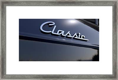 Classic Chrome Car Emblem Framed Print by Allan Swart