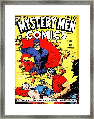 Classic Comic Book Cover - Mystery Men Comics - 1200 Framed Print by Wingsdomain Art and Photography