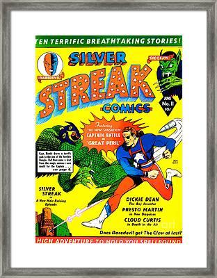 Classic Comic Book Cover - Silver Streak Comics Captain Battle - 0250 Framed Print