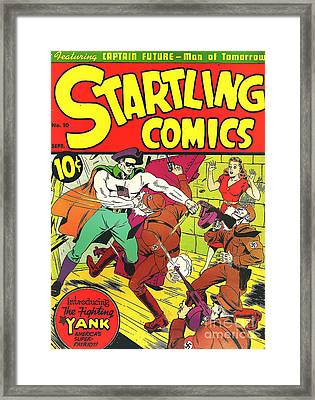 Classic Comic Book Cover - Startling Comics The Fighting Yank - 1236 Framed Print by Wingsdomain Art and Photography