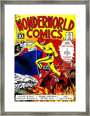 Classic Comic Book Cover - Wonderworld Comics The Flame - 1028 Framed Print