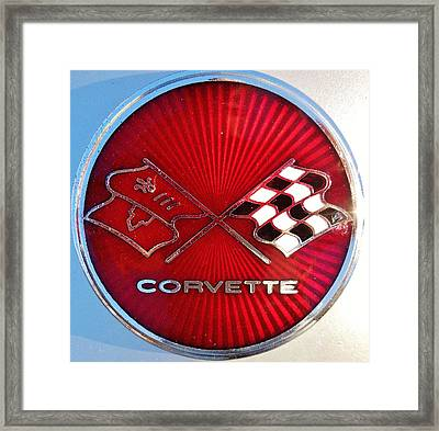 Classic Corvette Emblem  Framed Print