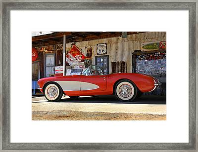 Classic Corvette On Route 66 Framed Print by Mike McGlothlen