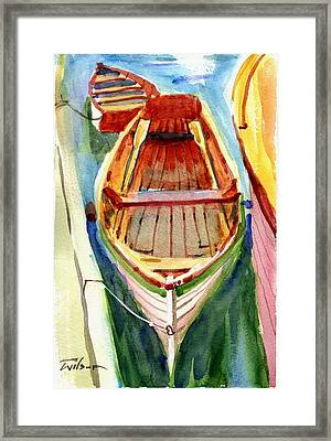 Classic Dinghy - Watercolor Sketch Framed Print by Ron Wilson
