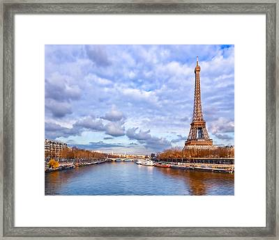 Classic Eiffel Tower View From The Seine Framed Print by Mark E Tisdale