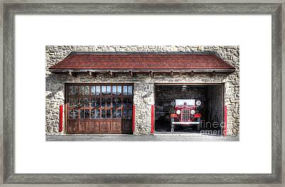Classic Fire Engine At The Firehouse Framed Print
