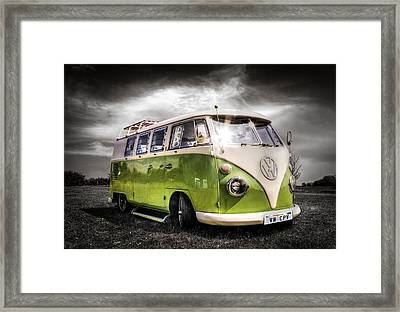 Classic Green Vw Campavan Framed Print by Ian Hufton