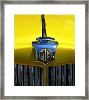 Framed Print featuring the photograph Classic Mg Grill Yellow by Jeff Lowe