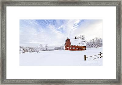 Classic New England Red Barn In Winter Framed Print by Edward Fielding