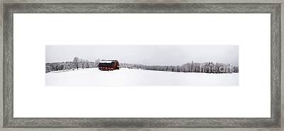 Classic New England Red Barn In Winter Storm Framed Print by Edward Fielding