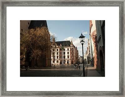 Classic Old Town Street Scene Framed Print