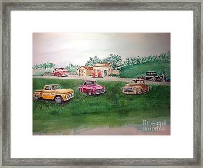 Classic Pickups At Charlies Service Framed Print