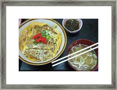 Classic Pork Over Rice Bowl With Noodle Framed Print
