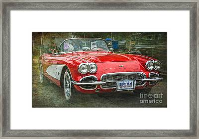 Classic Red Corvette Framed Print by Perry Webster