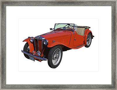 Classic Red Mg Tc Convertible British Sports Car Framed Print