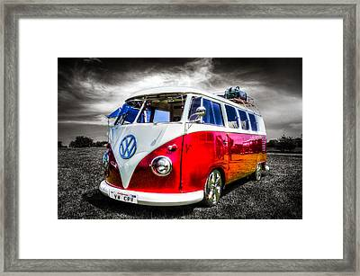 Classic Red Vw Campavan Framed Print by Ian Hufton