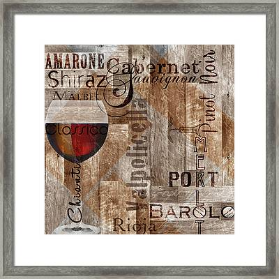 Classic Red Wines Framed Print by Lisa Wolk