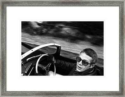 Classic Steve Mcqueen Photo Driving Jaguar Xk Ss Framed Print