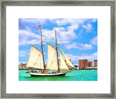Classic Tall Ship In Boston Harbor Framed Print