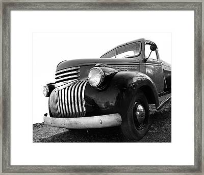 Classic Truck In Black And White Framed Print by Ann Powell
