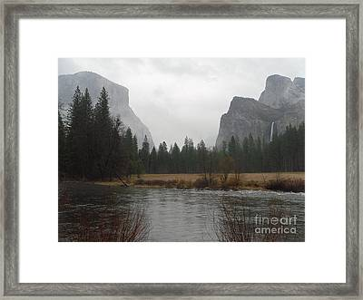 Classic View On A Rainy Day Framed Print