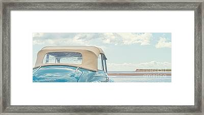 Classic Vintage Morris Minor 1000 Convertible At The Beach Framed Print by Edward Fielding