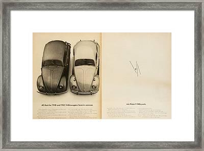 Classic Volkswagen Beetle Vintage Advert Framed Print by Georgia Fowler