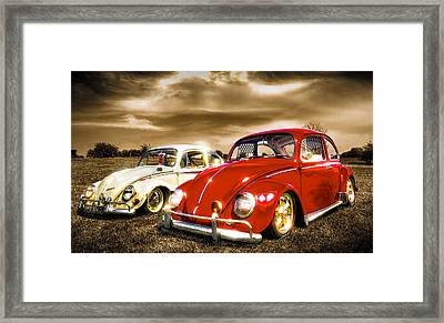 Classic Vw Beetles Framed Print by Ian Hufton