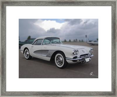 Classic White Corvette Framed Print by Chris Thomas