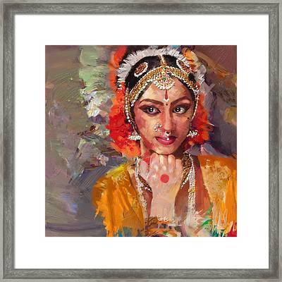 Classical Dance Art 1 Framed Print by Maryam Mughal