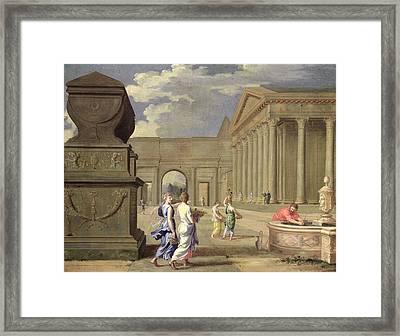 Classical Landscape Oil On Canvas Framed Print