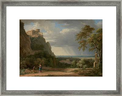 Classical Landscape With Figures And Sculpture Pierre-henri Framed Print by Litz Collection