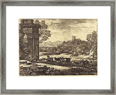Claude Lorrain, French 1604-1605-1682, The Herd Returning Framed Print by Litz Collection