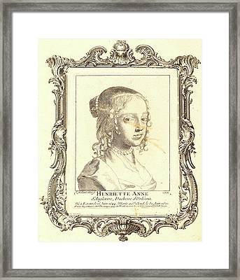 Claude Mellan, French 1598-1688, Henriette Anne Of England Framed Print by Litz Collection