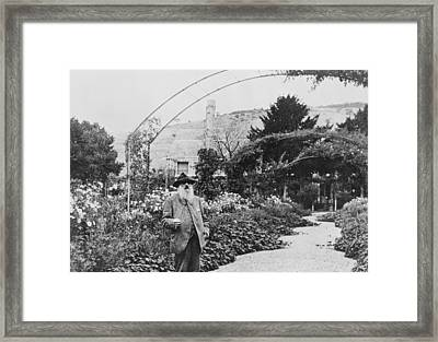 Claude Monet In His Garden At Giverny Framed Print
