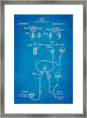 Claude Neon Patent Art 1916 Blueprint Framed Print by Ian Monk