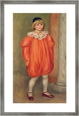Claude Renoir In A Clown Costume Framed Print by Pierre Auguste Renoir