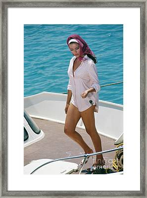 Claudine Auger On The Set Of Thunderball Framed Print
