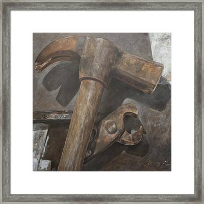 Claw Hammer And Pliers Framed Print by Anke Classen