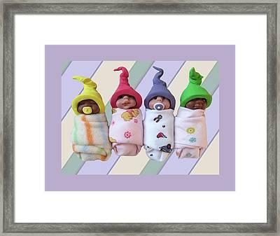 Clay Babies With Elfin Hats Framed Print by Joyce Geleynse
