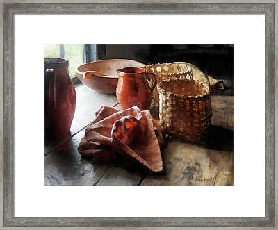 Clay Pitchers Bowl And Baskets Framed Print by Susan Savad
