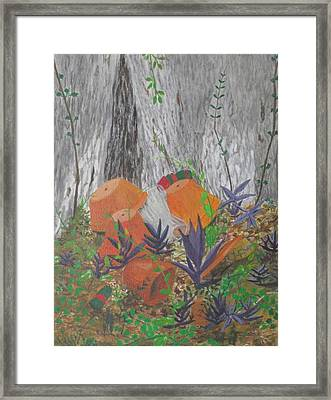Framed Print featuring the painting Clay Pots And Glass by Hilda and Jose Garrancho