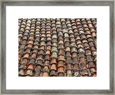 Framed Print featuring the photograph Clay Tile Roof Of A Greek Monastery by Alexandra Jordankova