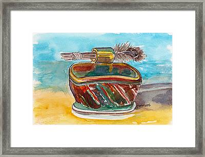 Framed Print featuring the pastel Clay With Feathers by Julie Maas