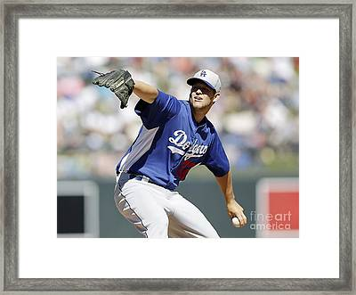 Clayton Kershaw Framed Print by Marvin Blaine