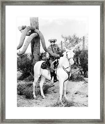 Clayton Moore In The Lone Ranger  Framed Print by Silver Screen